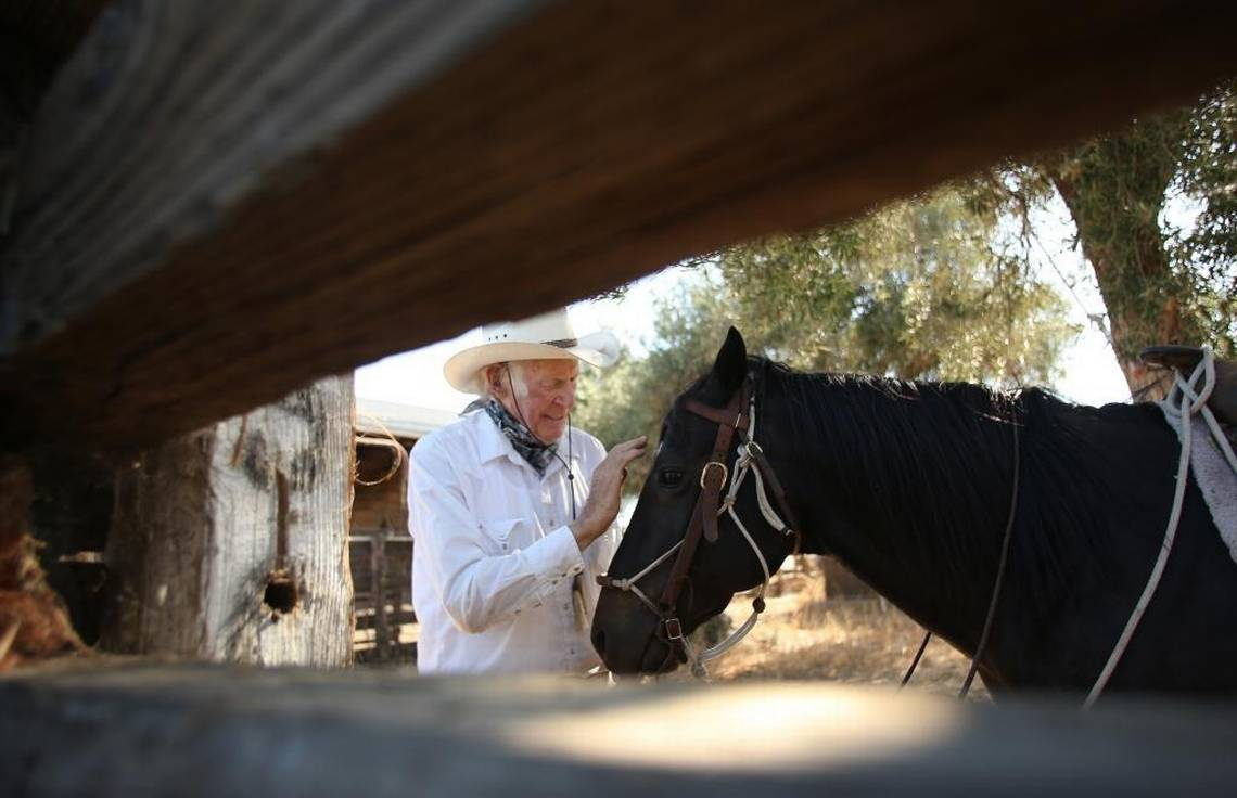 Wilbur Plaugher at his Sanger ranch in 2012.