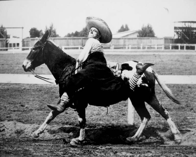 Wilbur Plaugher on a trick mule